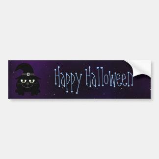 Cute Cartoon Cat Happy Halloween Magical Sky Bumper Sticker