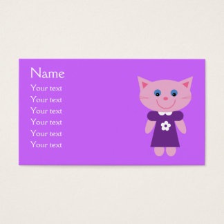 Cute Cartoon Cat In Purple Dress Custom Lilac Business Card