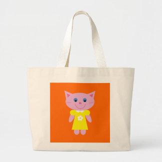 Cute Cartoon Cat in Yellow Dress Custom Orange Jumbo Tote Bag