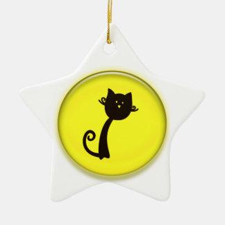 Cute Cartoon Cat Star Ornament