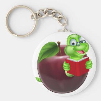 Cute Cartoon Caterpillar Worm Basic Round Button Key Ring