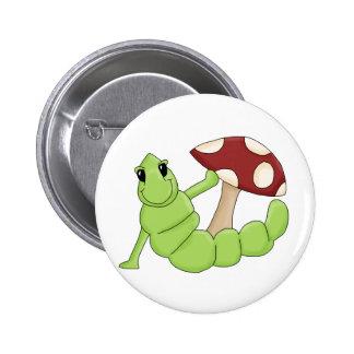 Cute Cartoon Caterpillar Worm Toadstool Design Button