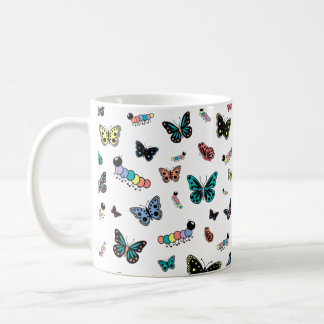 Cute Cartoon Caterpillars & Butterflies Coffee Mug