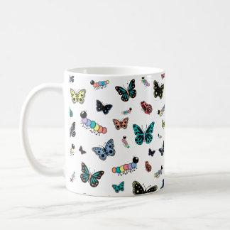 Cute Cartoon Caterpillars & Butterflies Basic White Mug