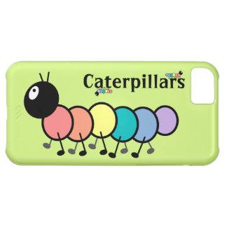 Cute Cartoon Caterpillars Grass Green Background iPhone 5C Cases