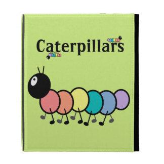 Cute Cartoon Caterpillars Grass Green Background iPad Folio Covers