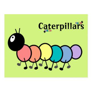 Cute Cartoon Caterpillars Grass Green Background Post Card
