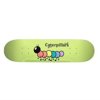 Cute Cartoon Caterpillars (Grass Green Background) Skateboards