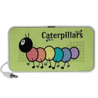 Cute Cartoon Caterpillars Grass Green Background Notebook Speakers
