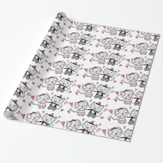 cute cartoon cats bride and groom wedding wrapping paper