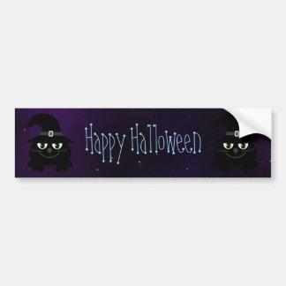 Cute Cartoon Cats Happy Halloween Magical Sky Bumper Sticker