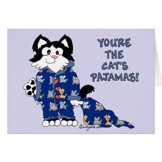 Cute Cartoon Cats Pyjamas Greeting Card
