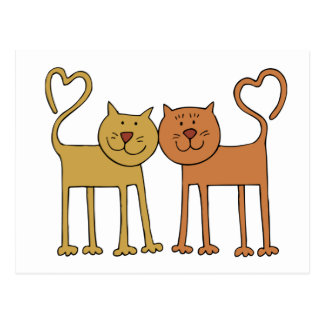 Cute Cartoon Cats with Tails Curved to Hearts Postcard