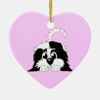Cute Cartoon Cavachon Ceramic Heart Decoration