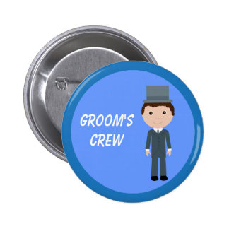 Cute Cartoon Character Groom's Crew Bachelor Party 6 Cm Round Badge