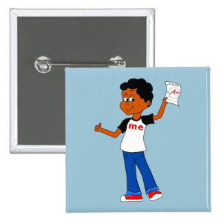 Cute Cartoon Character holding A+ Paper Button