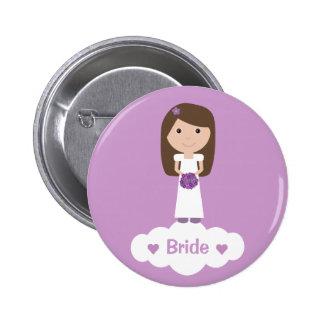 Cute cartoon character lilac Bride button / badge