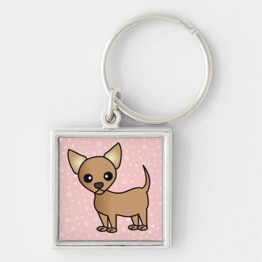 Cute Cartoon Chihuahua Silver-Colored Square Key Ring