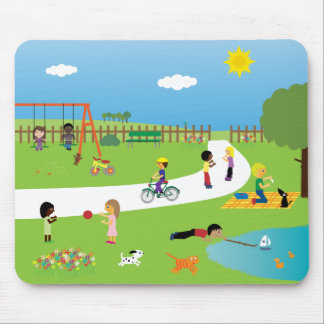 Cute Cartoon Children & Pets Playing In The Park Mouse Mat