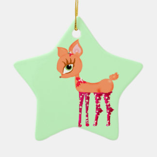 Cute cartoon Chrismas Reindeer Ceramic Star Decoration