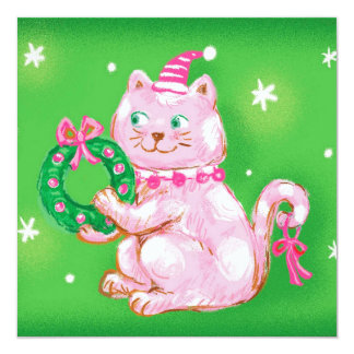 Cute Cartoon Christmas Cat Holding Wreath 13 Cm X 13 Cm Square Invitation Card