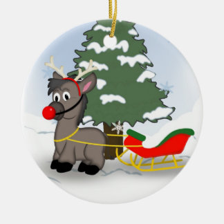Cute Cartoon Christmas Donkey with Sleigh Double-Sided Ceramic Round Christmas Ornament