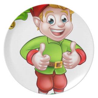 Cute Cartoon Christmas Elf Dinner Plates