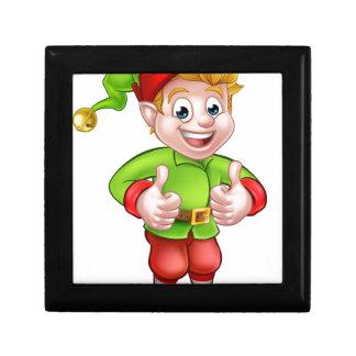 Cute Cartoon Christmas Elf Small Square Gift Box