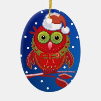 Cute cartoon Christmas ornament with Santa Owl