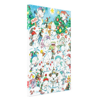 Cute Cartoon Christmas Polar Bear Penguin Party Stretched Canvas Prints