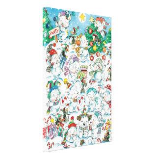 Cute Cartoon Christmas Polar Bear Penguin Party Gallery Wrap Canvas