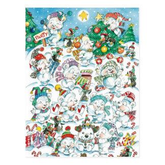 Cute Cartoon Christmas Polar Bear Penguin Party Postcard