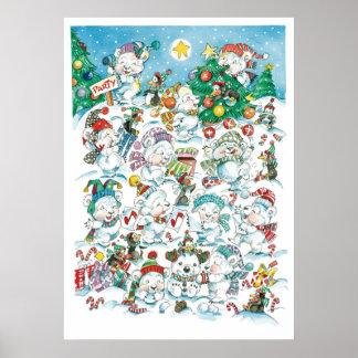 Cute Cartoon Christmas Polar Bear Penguin Party Poster