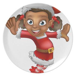 Cute Cartoon Christmas Santa Helper Elf Dinner Plate