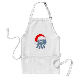 Cute Cartoon Christmas Santa Jellyfish Standard Apron