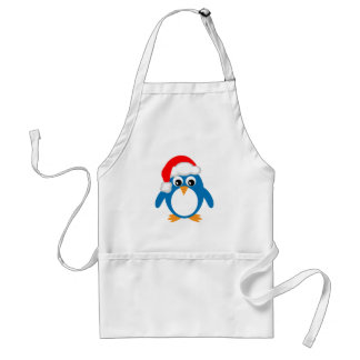 Cute Cartoon Christmas Santa Penguin Standard Apron