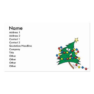 cute cartoon christmas tree character business card template