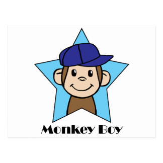 Cute Cartoon Clip Art Happy Monkey in Star w Hat Postcard