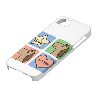 Cute Cartoon Clip Art I Love Horses Smileys iPhone 5 Cover
