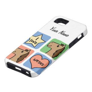 Cute Cartoon Clip Art I Love Horses Smileys iPhone 5 Case