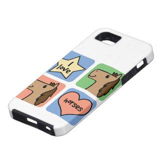 Cute Cartoon Clip Art I Love Horses Smileys iPhone 5 Cases