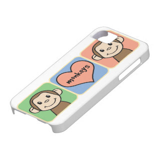 Cute Cartoon Clip Art Monkeys with Heart Love iPhone 5 Covers