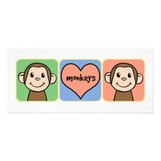 Cute Cartoon Clip Art Monkeys with Heart Love Custom Rack Card