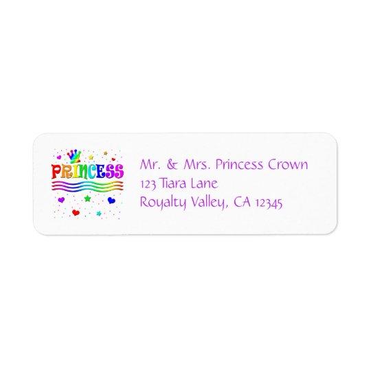 Cute Cartoon Clip Art Rainbow Princess Tiara Return Address Label