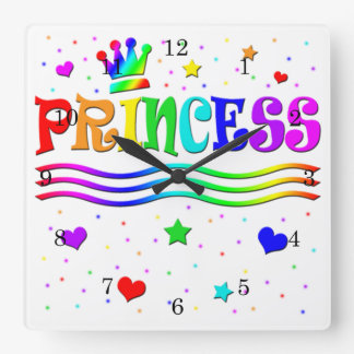 Cute Cartoon Clip Art Rainbow Princess Tiara Square Wall Clock