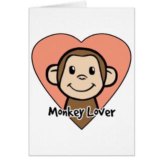 Cute Cartoon Clip Art Smile Monkey Love in Heart Card