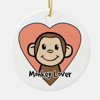 Cute Cartoon Clip Art Smile Monkey Love in Heart Christmas Ornament
