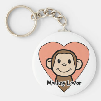 Cute Cartoon Clip Art Smile Monkey Love in Heart Keychain