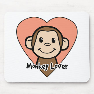 Cute Cartoon Clip Art Smile Monkey Love in Heart Mouse Pad