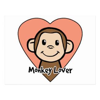 Cute Cartoon Clip Art Smile Monkey Love in Heart Postcard
